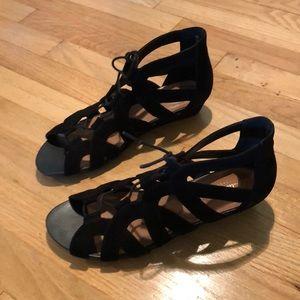 418341558ca Clarks lace up gladiator sandal Parram Lux Black